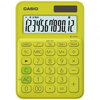 Casio Colourful Calculator - 12 Digits, Solar & Battery, Tax & Time Calculation, Yellow Green (MS-20UC-YG)