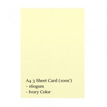 A4 3 Sheet Card 160gsm 100s' (Ivory)