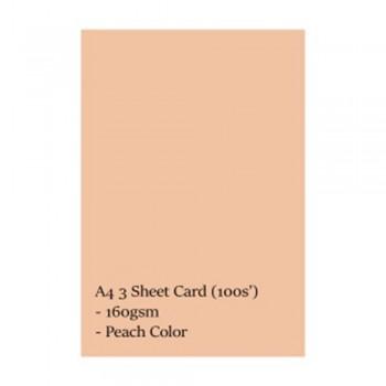 A4 3 Sheet Card 160gsm 100s' (Peach)