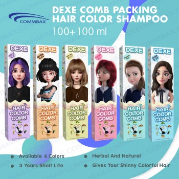 DEXE Colour Comb Packing Hair Color Shampoo 100+100ml (Available in 6 Colors) 御采堂泡泡染流行色显白一梳彩植物泡泡沫 (100+100毫升) - Sold by Commbax Sdn Bhd