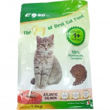 EOSG 7+ Cat Food Atlantic Salmon Flavor (1.5kg) - 100% Nutritionally Complete Dry Cat Food, For Cat 1+ Year Old, Strengthens Immune System, Promotes Healthy Urinary Tract - Makanan Kucing Kering Salmon Atlantik - 大西洋三文鱼味干猫粮 (Product from Italy)