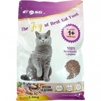 EOSG 7+ Cat Food Ocean Seafood Flavor (1.5kg) - 100% Nutritionally Complete Dry Cat Food, For Cat 1+ Year Old, Strengthens Immune System, Promotes Healthy Urinary Tract - Makanan Kucing Kering Makanan Laut Asli - 海洋海鲜味干猫粮 (Product from Italy)