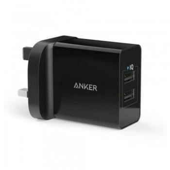 Anker B2021 24W 2-Port USB Charger UK Black & 3ft micro USB Cable Black (848061038699)