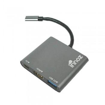 Innoz InnoZone C3 3-in-1 USB 3.1 with Type-C & USB PD Charging, USB 3.0 support OTG, 4K HDMI Data Hub