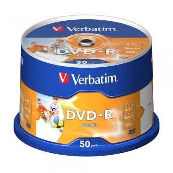 Verbatim Inkjet Printable DVD-R 4.7GB 120min (50pcs/Spindle)
