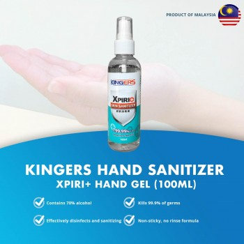 Hand Sanitizer Kingers Xpiri Hand Gel (100ML) - 70% Alcohol, Kills 99.99% Germs, Rinse-Free, Non-Stick Skin Sanitiser XPIRI+ 消毒搓手液 皮肤消毒剂 - Buatan Malaysia