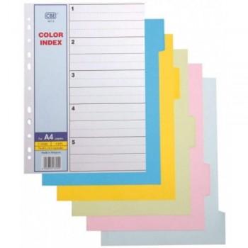 CBE 907-5 - 5col Color Index Divider (Item No: B10-19) A1R4B2