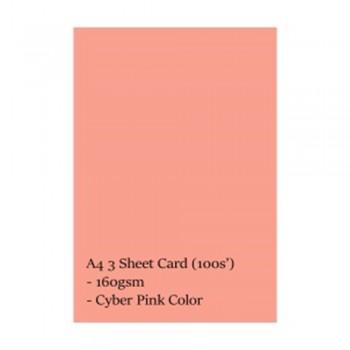 A4 3 Sheet Card 160gsm 100s' (Cyber Pink)
